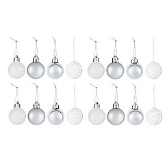 Debenhams - Set of 16 glitter shatterproof Christmas baubles