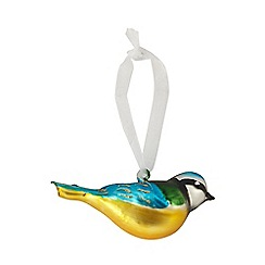 Sass & Belle - Glass blue tit Christmas decoration