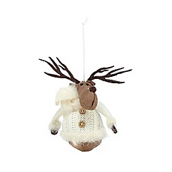 Debenhams - Cream Christmas reindeer decoration