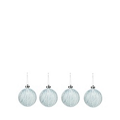 Debenhams - Pack of four blue lined Christmas baubles
