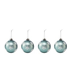 Debenhams - Set of four blue snowflake Christmas baubles