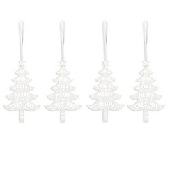 Debenhams - Set of three white 'Merry Christmas' cutout Christmas decorations