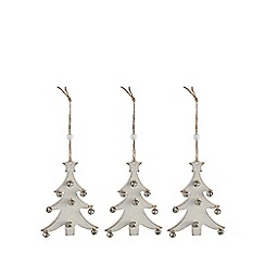 Debenhams - Set of three wooden Christmas tree decorations