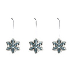 Debenhams - Set of three blue snowflake decorations