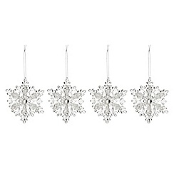 Debenhams - Set of four silver snowflake Christmas decorations
