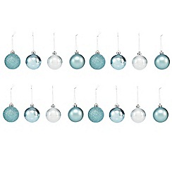 Debenhams - Set of 16 aqua Christmas baubles