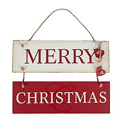 Debenhams - Red and cream 'Merry Christmas' hanging sign