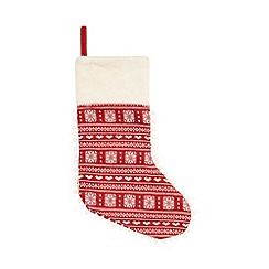 Debenhams - Red Nordic print Christmas stocking