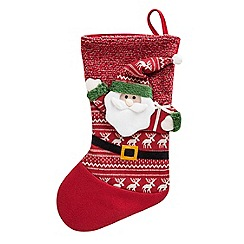 Debenhams - Red 3D Santa Christmas stocking
