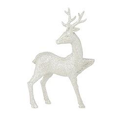 Debenhams - Glitter silver Christmas reindeer ornament