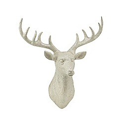 Debenhams - Silver glittery wall-mounted Christmas stag head
