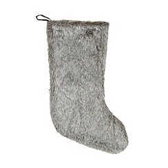 Debenhams - Grey faux fur Christmas stocking