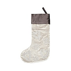 Debenhams - Silver velvet beaded Christmas stocking