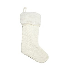 Debenhams - Cream knitted Christmas stocking