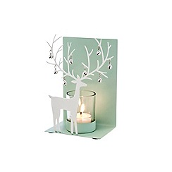Debenhams - White Christmas reindeer tea light holder