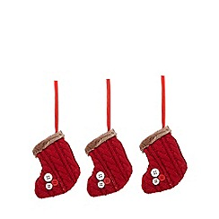 Debenhams - Set of three red stocking Christmas decorations