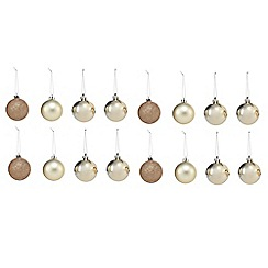 Debenhams - Set of 16 gold Christmas baubles