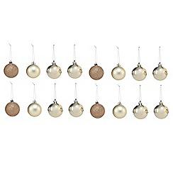 Debenhams - Set of 16 gold Christmas baubles