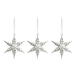 Debenhams - Set of three white cutout snowflake Christmas decorations