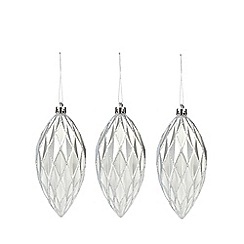 Debenhams - Set of three silver Christmas baubles