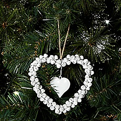 Debenhams - Cream Christmas bell wire heart decoration