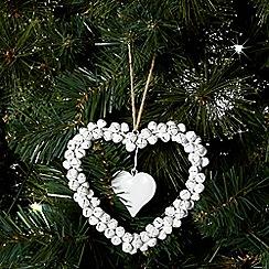 Debenhams - Cream Christmas bell wire heart decoration