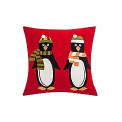 Debenhams - Red Christmas penguin cushion