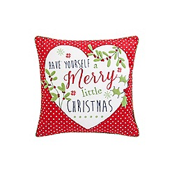 At home with Ashley Thomas - Red 'Merry Christmas' cushion