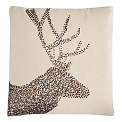 Debenhams - Cream sequinned reindeer cushion