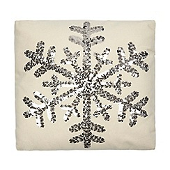 Debenhams - Cream sequinned snowflake cushion