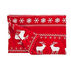 Debenhams - Red stag Christmas throw