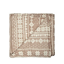 Debenhams - Taupe Nordic-inspired fleece throw