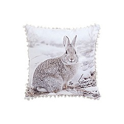 Debenhams - White wool blend hare Christmas cushion