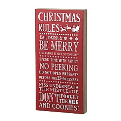 Parlane - Christmas rules sign in red