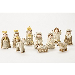 Heaven Sends - Small white Christmas nativity set