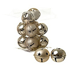 Heaven Sends - Set of gold Christmas bell decorations