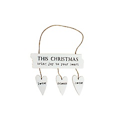 Heaven Sends - White wooden Christmas hanging sign with hearts