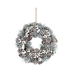 Debenhams - Silver pinecone wreath
