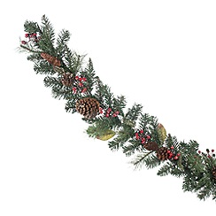 Debenhams - Green berry and pinecone Christmas garland