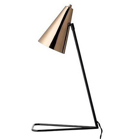 Bloomingville - Black table lamp with copper shade