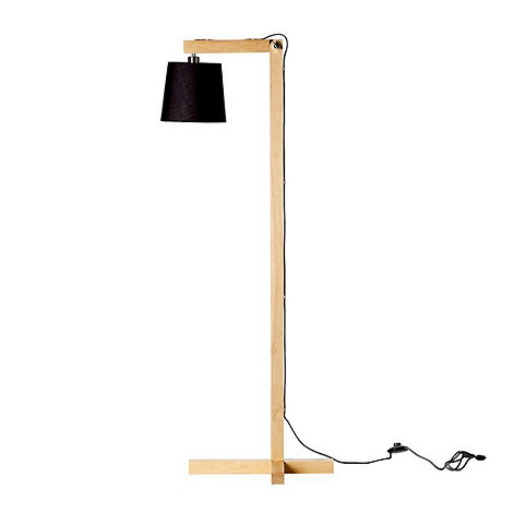 Bloomingville - Wooden lamp with black shade