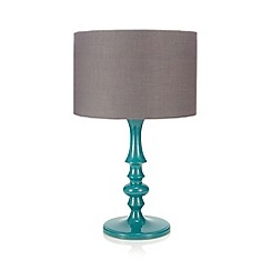 Laura Oakes - Table lamp with teal base and printed shade