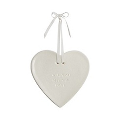 Heaven Sends - White 'All You Need Is Love' porcelain heart ornament