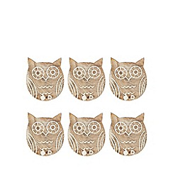 Sass & Belle - Set of six wooden owl coasters