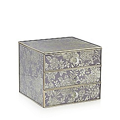 Debenhams - Set of three lilac floral glass drawers
