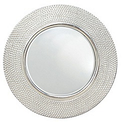Innova - Hammered high gloss round silver mirror