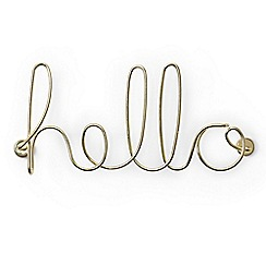 Umbra - Steel wire brass plated 'Hello' ornament