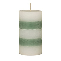 Broste - Small green striped pillar candle