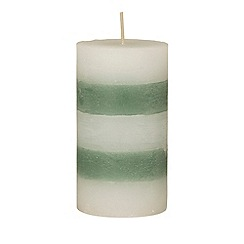 Broste - Large green striped pillar candle