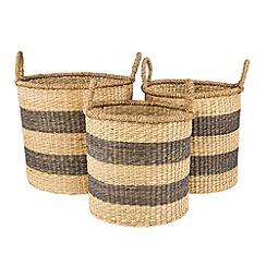 Broste - Set of three striped baskets